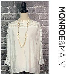Monroe & Main Classy White Blouse Lace Trim Sz XL